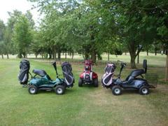 golf buggies in different colours